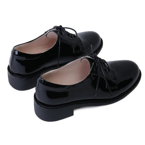Woman's Leisure Leather Oxford Shoes Chunkey Heels