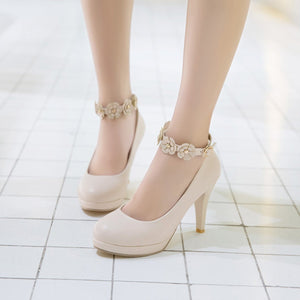 Women's Sweet Flowers Buckle Ankle Strap High Heeled Platform Stiletto Pumps