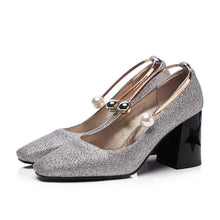Load image into Gallery viewer, Women's Pearl Buckle High Heeled Pumps with Sequins