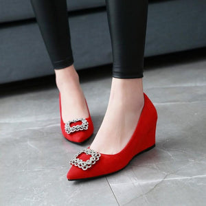 Girls Pointed Toe Pumps Rhinestone Wedges Middle Heel Woman's Shoes