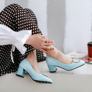 Lady Square Head Chunkey Heeled Woman's Pumps Middle Heels Shoes