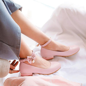 Woman Buckle Bow Low Heeled Princess Shoes