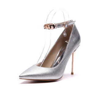 Buckle Super Stiletto Heel  Sharp Heel Shallow Mouth Stiletto Pumps