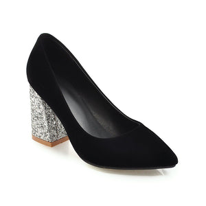 Women's Pointed Toe Sparkly Heels Bride Shoes