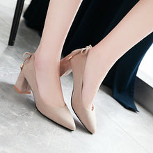 Load image into Gallery viewer, Pointed Shallow-mouth High-heeled Block Heel Pumps