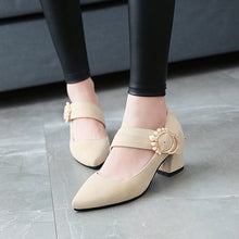 Load image into Gallery viewer, Pearl High Heels Shallow Toe Women Chunky Heels Pumps