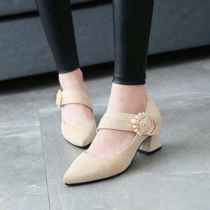 Pearl High Heels Shallow Toe Women Chunky Heels Pumps