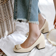 Load image into Gallery viewer, Autumn Shallow Square Head Cover Feet Thick Heeled Middle Heeleded Women Pumps