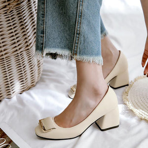 Autumn Shallow Square Head Cover Feet Thick Heeled Middle Heeleded Women Pumps