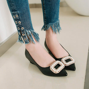 Girls Rhinestone Wedge Heel Middle Heels Buckle Woman's Pumps