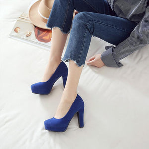 Round Head Shallow-mouth High Heeleds Chunky Heel Pumps