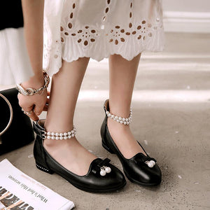 Woman Pearls Low Heeled Princess Shoes