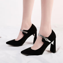 Load image into Gallery viewer, Women's Shallow Buckle High Heel Chunkey Pumps Shoes