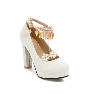 Super High-heel Pearl Platform Pumps