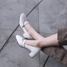 Load image into Gallery viewer, Buckle Middle Heeled Shallow Mouth Square Head Women Chunkey Pumps