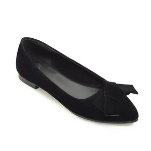 Girls's Shallow Mouth Bowtie Low Heeled Pumps