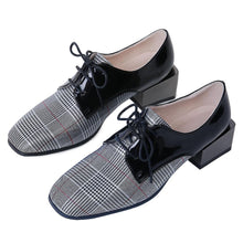 Load image into Gallery viewer, Woman's Leather Plaid Middle Heels Oxford Shoes