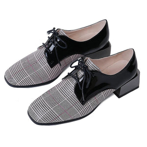 Woman's Leather Plaid Middle Heels Oxford Shoes