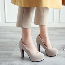 Load image into Gallery viewer, Round Head Shallow-mouth High Heeleds Chunky Heel Pumps