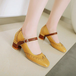 Autumn Mary Janes Thick-Heeleded Buckle Middle Heeleded Women Pumps