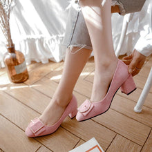 Load image into Gallery viewer, Lady Shallow Mouth Square Head Women's Pumps Mid Heels Shoes