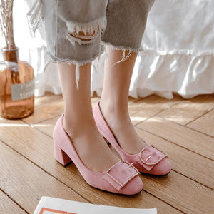 Lady Shallow Mouth Square Head Women's Pumps Mid Heels Shoes