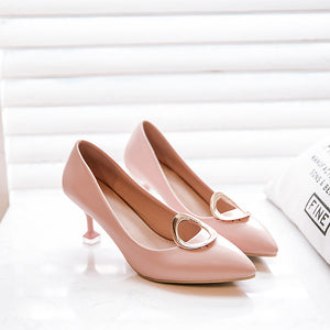 Women's Shallow Mouth Round Buckle High Heeled Stiletto Pumps