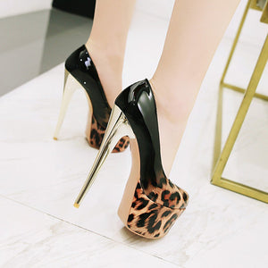 Women's Night Club Leopard-print High Heel Platform Pumps