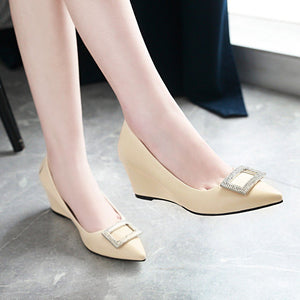 Girls Leisure Pointed Toe Rhinestone Wedges Woman's Pumps Shoes