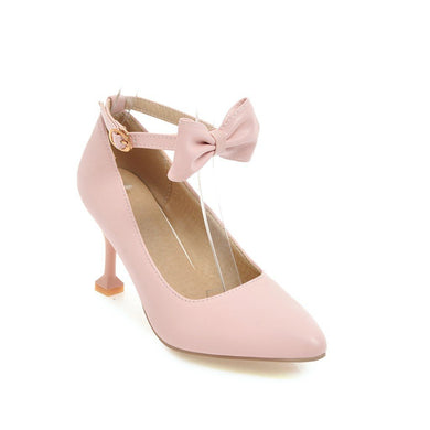Women's Shallow Mouth Sweet Butterfly Knot High Heeled Stiletto Pumps