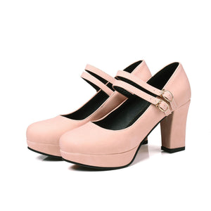 Women's Double Ankle Strap Platform Pumps High Heeled s