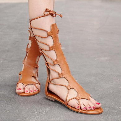 Flat-heeled High-top Women Gladiator Sandals