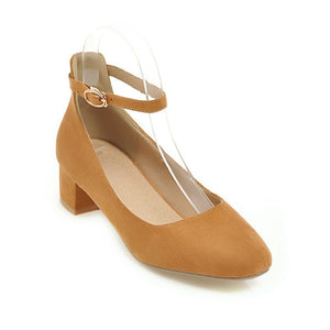 Lady  Shallow-mouthed Large Size Square Head Women's Chunkey Heels Pumps