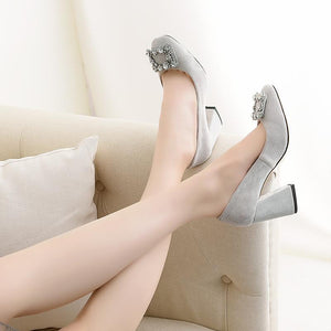 Women's Chunkey Heel Pumps Shallow Mouth Buckle High-heeled Shoes
