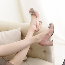 Load image into Gallery viewer, Women's Chunkey Heel Pumps Shallow Mouth Buckle High-heeled Shoes