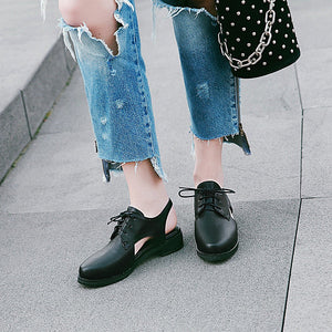 Woman's Lace Up Low Heels Shoes