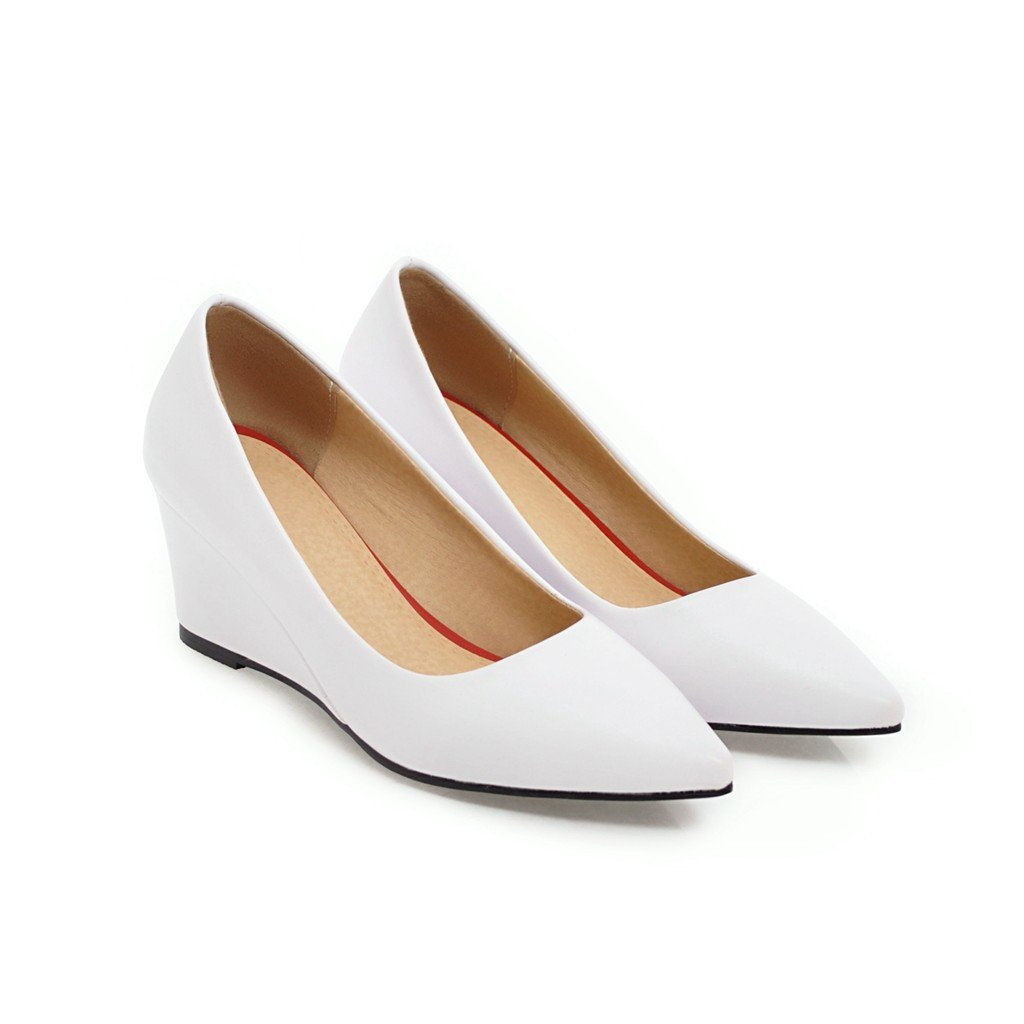 Girls Pointed Toe Pumps Shallow-mouth Middle Heel Woman's Wedges Shoes