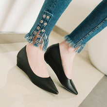 Load image into Gallery viewer, Girls Pointed Toe Pumps Shallow-mouth Middle Heel Woman's Wedges Shoes