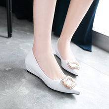 Load image into Gallery viewer, Girls Rhinestone Wedge Heel Middle Heels Buckle Woman's Pumps