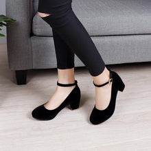 Load image into Gallery viewer, Ankle Strap High Heeled Round Head Pumps