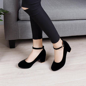Ankle Strap High Heeled Round Head Pumps