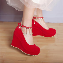 Load image into Gallery viewer, Casual Women's Bride Shoes Round Head Shallow Buckle Platform Wedges Shoes