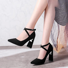 Load image into Gallery viewer, Pointed Toe High Heeled Chunky Pumps