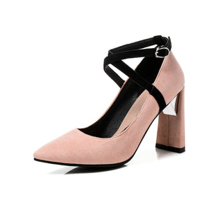Pointed Toe High Heeled Chunky Pumps