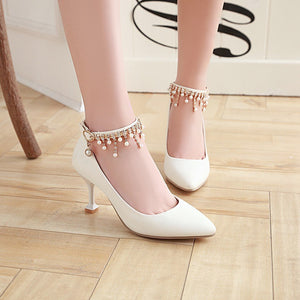 Women's Pointed Rhinestone Shallow Mouth High Heeled Stiletto Pumps