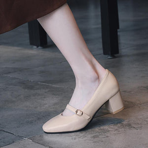 Buckle Middle Heeled Shallow Mouth Square Head Women Chunkey Pumps