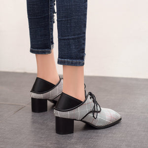 Lace Up Thick-Heeleded Medium-Heeled Lattice Women Chunkey Heeleded