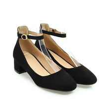 Load image into Gallery viewer, Lady  Shallow-mouthed Large Size Square Head Women's Chunkey Heels Pumps