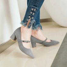 Load image into Gallery viewer, Lady Pointed Toe Shallow Mouth Women's Pumps Mid Heels Shoes