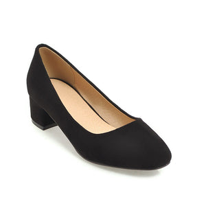 Lady Square Head Shallow Mouth Large Size Woman's Pumps Middle Heels Shoes